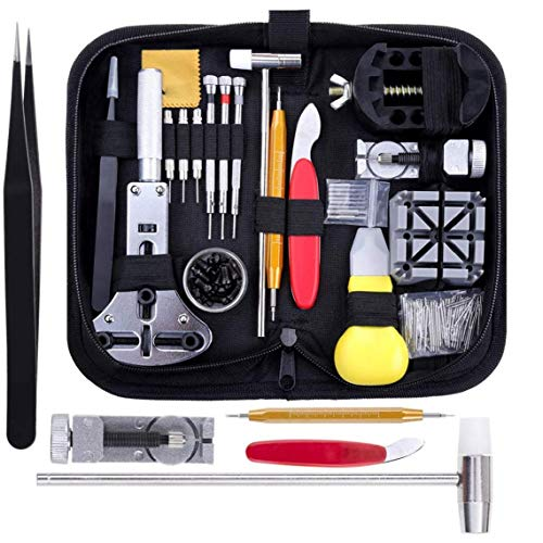 GGOOD Reemplazo de la reparación del Reloj del Sistema de Herramienta del Kit Negro Profesional Barra del Resorte la batería con el maletín de Transporte 151PCS, Conjunto de Herramientas