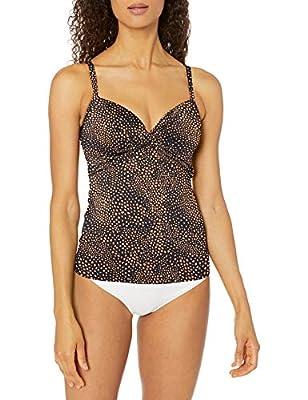 Seafolly Women's DD Twist Front Tankini Top Swimsuit, Safari spot Black, 6 US