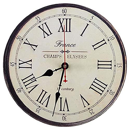 12 Inch Wall Clock Roman Numeral Print Round Frameless Silent Digital Home Decor Loud Alarm Clock