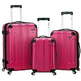 Rockland London Hardside Spinner Wheel Luggage, Magenta, 3-Piece Set (20/24/28)