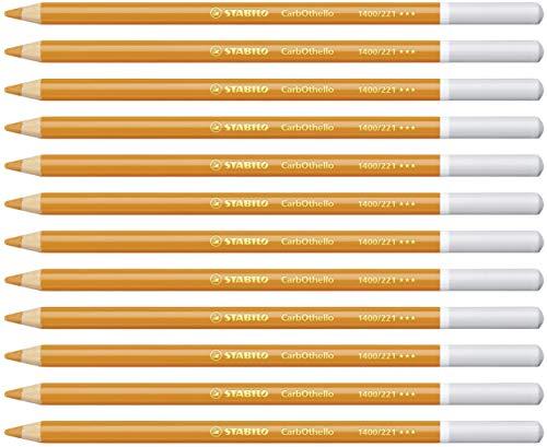 Crayon de couleur - STABILO CarbOthello - Lot de 12 crayons fusains pastels - Orange clair (1400/221)