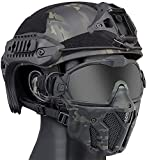NC Casco táctico rápido Ajustable, máscara Facial Protectora Desmontable y Juego de Gafas, Adecuado para la Caza y el Tiro de Paintball con Pistola de Aire