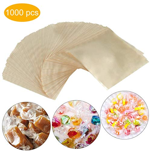 Buy Discount Candy Wrappers,Caramel 1000 Sheets Clear Candy and Chocolate Wrappers 5x5 Inches, Natur...