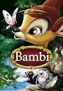 Bambi - Disney Movie Poster (Bambi & Butterfly - French) (Size: 27 inches x 39 inches)