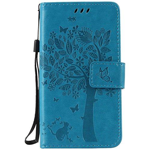 Guran® PU Leder Tasche Etui für Samsung Galaxy Xcover 3 SM-G388F Smartphone Flip Cover Stand Hülle und Karte Slot Case-blau