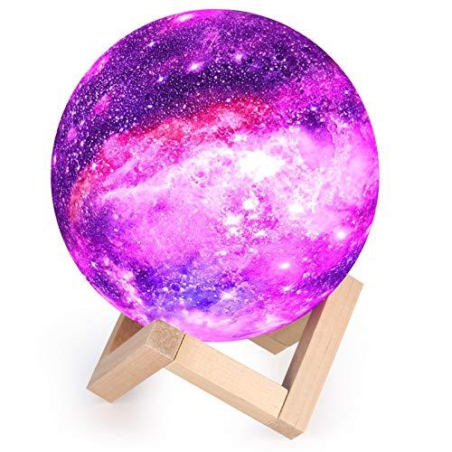 Lampe Lune 3D, Veilleuse LED Lampe Lune Tactile 16 Couleurs, 15cm Diamètre, USB Rechargeable Veilleuse Lune pour Chambre Salon décoration Cadeau Anniversaire Noël [Classe énergétique A++]
