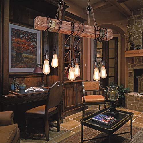 Hängeleuchten aus Holz Retro pendelleuchten Persönlichkeit Schmiedeeisen Kronleuchter Höhenverstellbarer Hängelampe E27 Schlafzimmer Wohnzimmer Arbeitszimmer Bar Restaurant pendellampe (6 × E27)