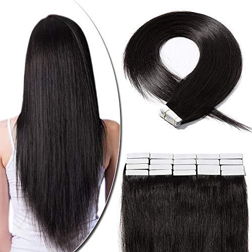 Extension Adhesive Cheveux Naturel 20 Pcs 40g - Rajout Vrai Cheveux Humain Lisse à Bande Adhesive (#1B Noir naturel, 35 cm)