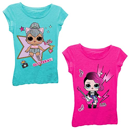 L.O.L. Surprise! Girls T-Shirt Set - 2 Pack of LOL Surprise Tees - Lil Outrageous Littles T-Shirts (Blue/HotPink, M-5/6)