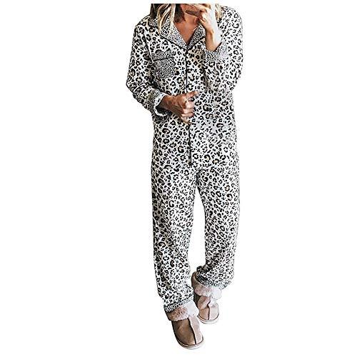 Janly Clearance Sale Conjunto de pijama de manga larga con estampado de leopardo, para mujer, para invierno, Navidad, San Valentín, color blanco