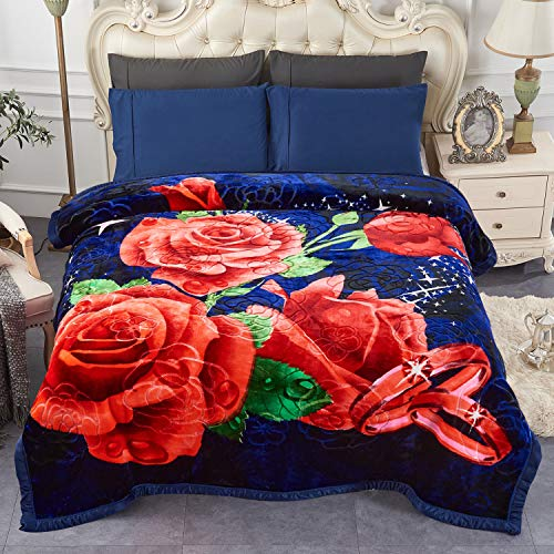 "JML Heavy Fleece Blanket, Plush Velvet Korean Style Mink Blanket Queen Size 79""x91"", Two Ply Reversible Raschel Blanket - Silky Soft Wrinkle and Fade Resistant Thick Bed Warm Blanket, Navy/Red Rose"