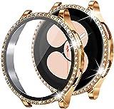 wlooo Glitter Diamante Cover per Samsung Galaxy Watch 4 Pellicola Protettiva 40mm 44mm, Bling Cristallo Ragazze Donne Cover Duro PC Protettivo Antiurto Custodia per Galaxy Watch4 (Oro rosa, 44mm)