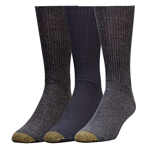 Gold Toe Men's Fluffies Crew Socks, Multipairs, Assorted (3-Pairs), Large