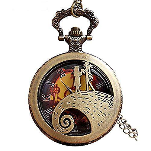 Jack Skellington Sally Tim Burton's Nightmare Before Christmas Relojes de bolsillo vintage bronce colgante cadena reloj mujeres hombres regalo