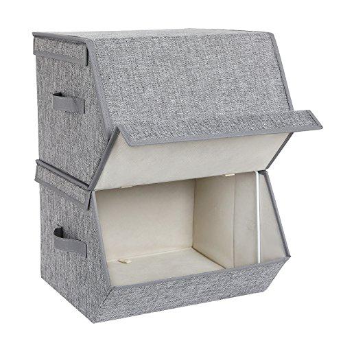 SONGMICS Juego de 2 cajas de almacenamiento con tapa magnética, apilables con revestimiento de tela, marco de metal y asas laterales, para accesorios, juguetes, ropa RLB02GY