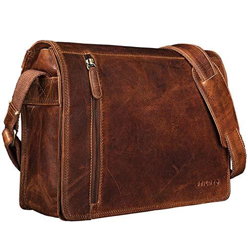 STILORD 'Noah' Vintage Umhängetasche Leder 13,3 Zoll Laptoptasche Studium Uni Büro Arbeit Unisex für MacBook echtes Rindsleder, Farbe:Kara - Cognac