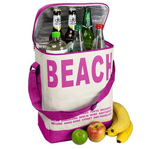 Glorytec XXL Kühltasche Pink - Kühltasche faltbar 28x18,5x35cm 20 Liter – Kuehltasche Perfekt für Camping und Grillfeste