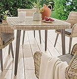 Destiny CORREDA Tisch Esstisch Sitzgruppentisch 100x100 cm beige/weiß - Beine Grau - Ohne Stühle -