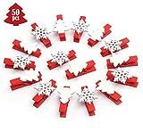 ABSOFINE 50 Stück Schneeflocke Holzklammern Rot Weihnachtsbaum Wäscheklammer Holz klein