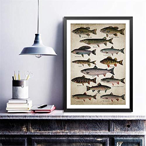 yaoxingfu Kein Rahmen Angeln Angeln Wandkunst Leinwand Poster Drucke Fischrassen ng Süßwasserfische Wandbild für Zuhause Raumdekoration 60x90cm