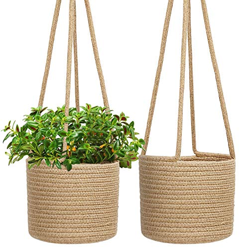 TomCare Hanging Planters Jute Rope Hanging Basket Woven Plant Hanger Indoor Hanging Plant Holder with Long Hanging Rope 8 inch Decorative Storage Organizer Baskets for Plants Pots Home Decor, 2 Pack