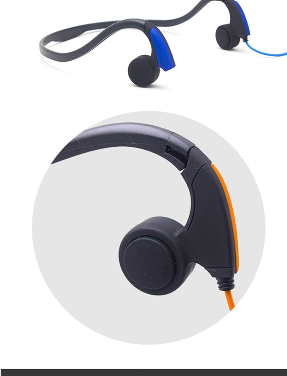 GZCRDZ Bone Conduction Headphones with Microphone Stereo Open-Ear Sport Headphone with Noise Reduction Microphone (Orange)