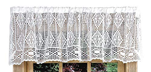 Diamond Crochet 58 Inches Wide x 14 Inches Long Cotton Valance Curtain, White