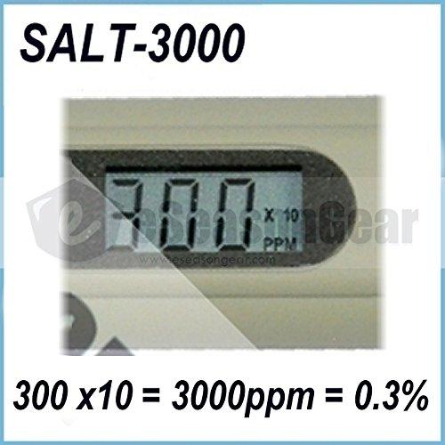 eSeasonGear SALT-3000 Meter, Digital Salinity PPM Temperature Tester for Salt Water Pool and Koi Fish Pond
