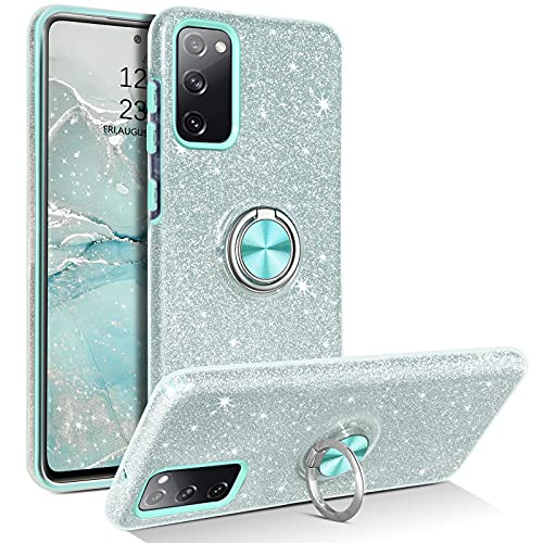 YINLAI Samsung Galaxy S20 FE Hülle Glitzer Handyhülle Samsung S20 FE mit 360 Grad Ring Halter Handy Hüllen Bling Crystal Cover Hülle Schutzhülle für Samsung S20 FE 4G/5G 6,5 Zoll,Silber Mint