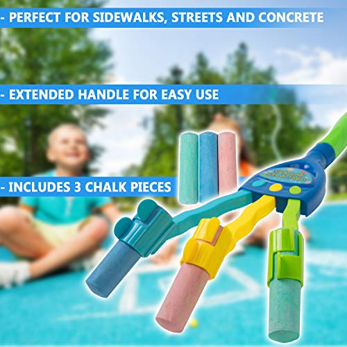 Kids Chalk Rake � Sidewalk Art Chalk Drawing Multiple Lines Tool Toy For Boys And Girls � Extended Handle With 3 Jumbo Oversize Chalks Photo #3