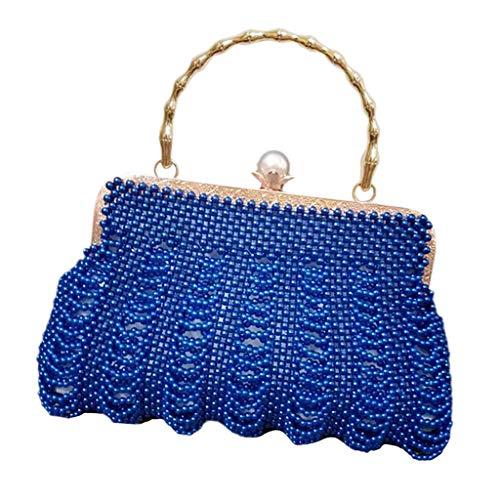 F Fityle DIY Damentasche Tasche Nähset Kreativset Nähen Bastelset Elegante Handtasche, iklv. Perlen, Futterbeutel, Nadel und Taschengriff - Blau
