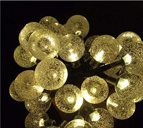 ZCSSDCB LE Solar L ichterke tte,4.5 Meter 30er Kristall Kugeln Warmweiß Wasserdicht Außerlichterkette D EKO,für Garten Bäume Terrasse Hochzeiten Partys Innen und außen