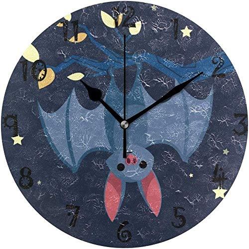 tuobaysj Reloj de Pared Art Star Blue Bat Reloj de Pared Redondo Placa Circular Relojes silenciosos sin tictac para Cocina Oficina en casa Decoración Escolar Niños Niños Niñas