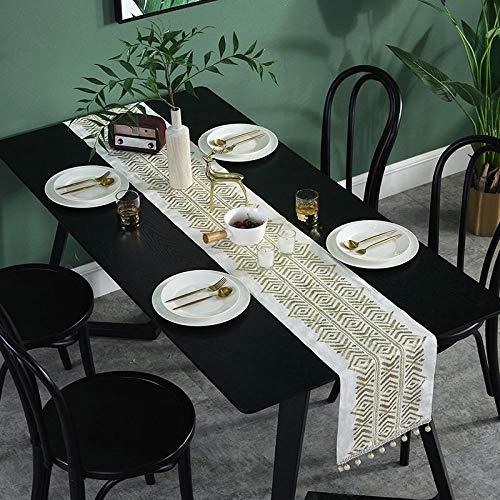 HeimiHome Camino De Mesa Beige Dorado De Estilo Chino Bordado Crochet Table Runner Mantel para La Decoración del Hogar Moderno Café Tabla Tabla De Resistencia Al Calor Mantel Flag 30 * 200Cm.