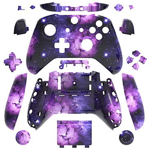 WPS Hydro Dipped Replacement Housing Shell Set for Xbox One S Slim (3.5 mm Headphone Jack) Controllers for 1708 Version (Camouflage Galaxy)