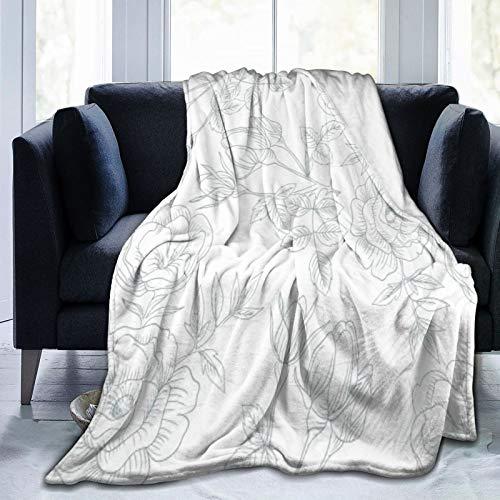 Bernice Winifred Manta de Micropolar Ultra Suave Elegante Floral Vintage Simple Hecha de Franela Anti-Pilling, más cómoda y cálida.50x40