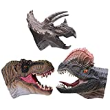 KELIWOW Dinosaur Hand Puppets Toy Realistic Soft Rubber T.Rex Triceratops Dilophosaurus Dinosaur Toys for Kids Boys Girls Dino Head Glove Toys (3 Pack)