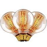 CMYK Vintage Grande lampadina Globo con gabbia di luce filamento della lampadina 40W (vecchio Edison) tappo a vite E27-confezione da 3