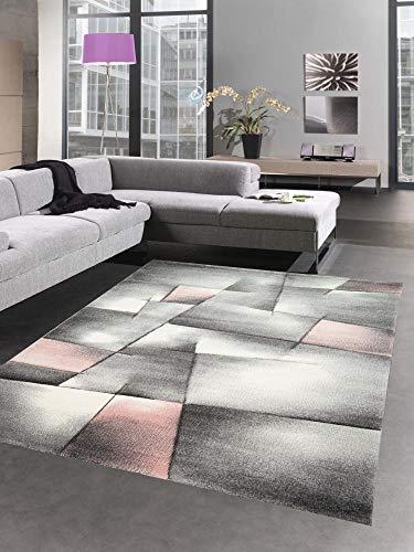 CARPETIA Teppich Kurzflor Wohnzimmerteppich karo abstrakt Pastell rosa grau Größe 160x230 cm