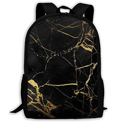 XCNGG Black and Gold Background Printed Travel Backpack,Waterproof Lightweight Laptopbag Have Two Side Pockets