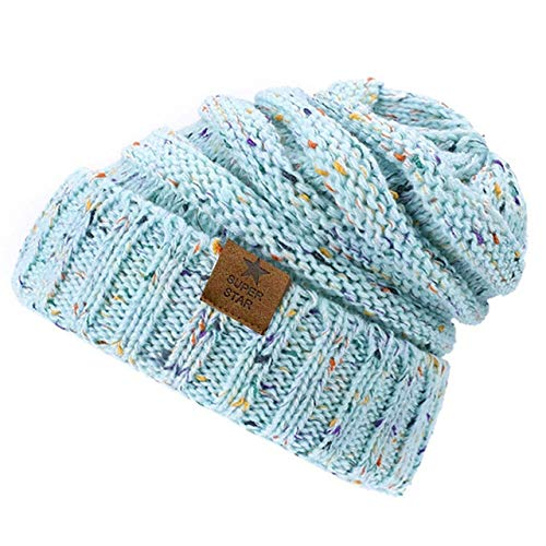 Chapeaux d'Hiver Chaud Dame Chapeau d'Hiver pour LesFemmes Girl « S Bonnet tricoté Chapeau Bonnet épais femmes'SBeanies-Sky Blue Colors