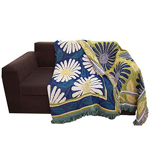 XKMY Manta para sofá con forma de margarita, manta de arena rural, americana, para sofá, funda decorativa (color: azul, tamaño: 90 x 210 cm)