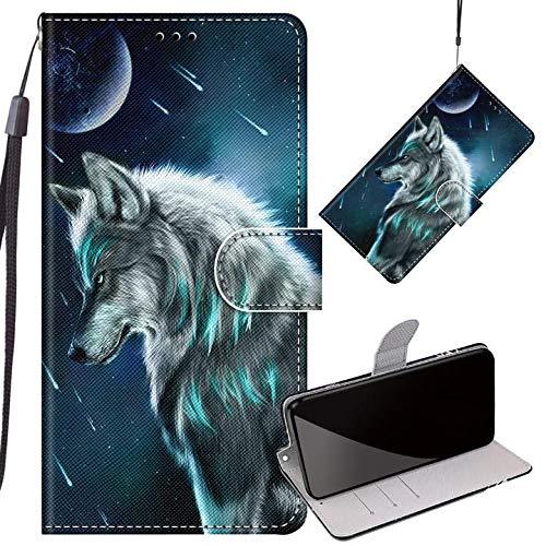 Yiizy Handyhüllen für ZTE Blade V10, Wolf Ledertasche Flip Hülle Wallet Stylish mit Standfunktion Magnetisch PU Tasche Schutzhülle passt für ZTE V10 Smartphone