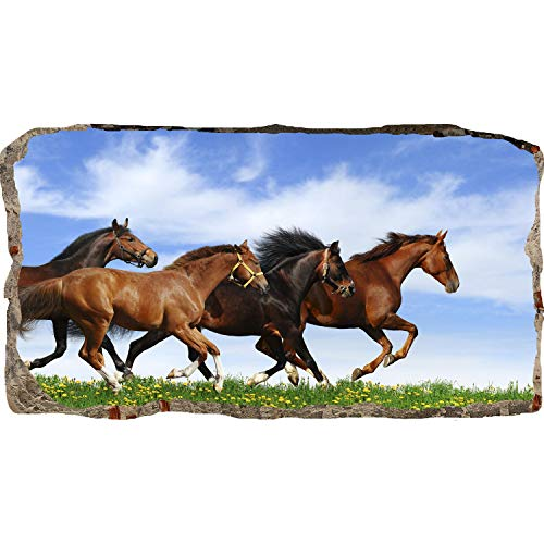 Mural Wall Art Startonight 3D Photo Decor Paarden Running Amazing Dual View Surprise Grote 82 x 150 cm muur muurbehang voor woonkamer of slaapkamer paarden collectie Wall Art