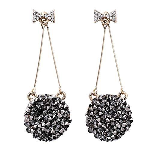 nobrand Orecchini Pendenti con Diamanti Come Orecchini fedeli Neri Orecchini da Donna con Charm Distinguished (Color : Silver Needle)