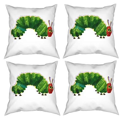 Sunzhenyu Juego de 4 fundas de almohada decorativas de Caterpillar de 20 x 20, fundas de cojín cuadradas, fundas de cojín para sofá, sala de estar