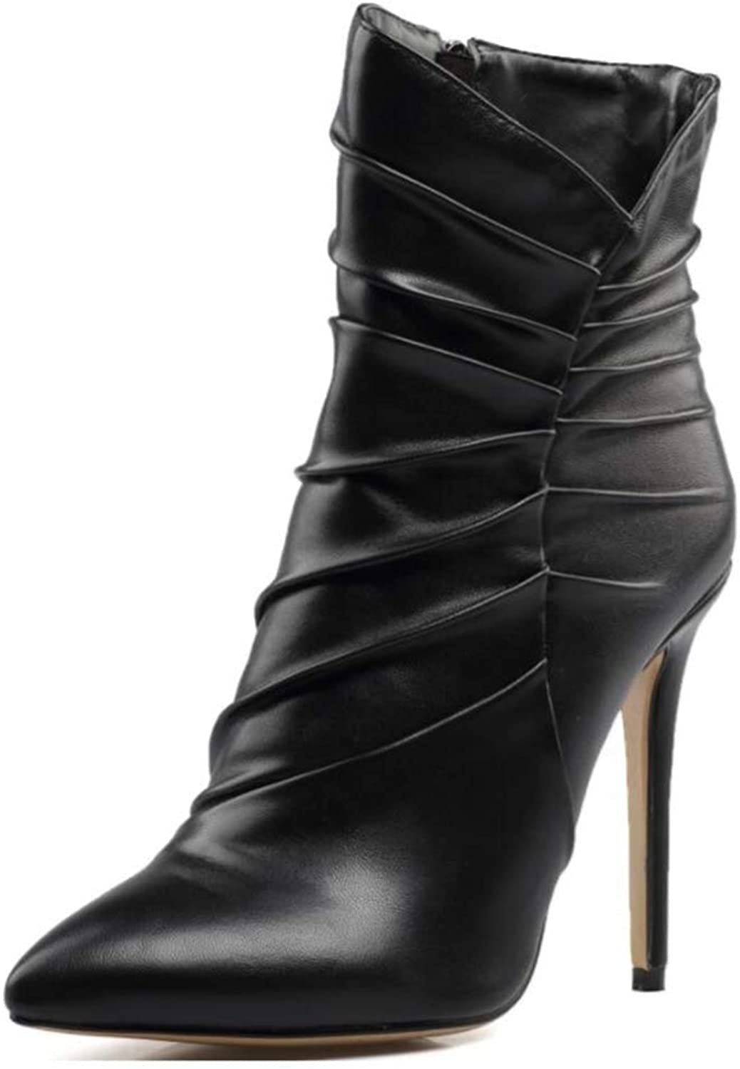 Shiney Women's Pointed Toe Black Artificial PU High-Heeled Pleated Ankle Boots Stiletto Heels Holiday Party