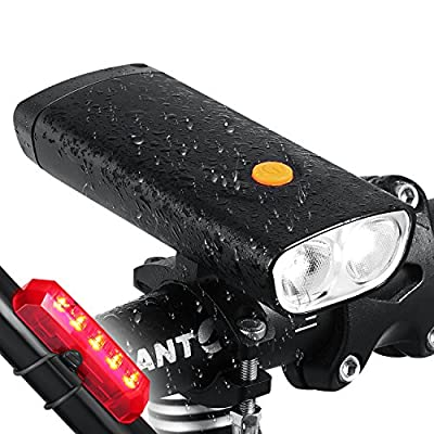 FUNSPORT 1000 Lumens USB Rechargeable Bike Light & Bike Taillight Set- Super Bright Bicycle Headlight with 5000mA Power Bank -Come with USB Bike Taillight &Magic Scarf as Bonus