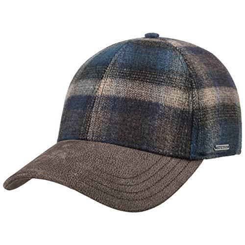 Stetson Gorra Camanto Wool Check Hombre - de Cuadros Beisbol Lana Cerrado por atrás, con Visera, Forro, Forro otoño/Invierno - L (58-59 cm) Azul-Beige