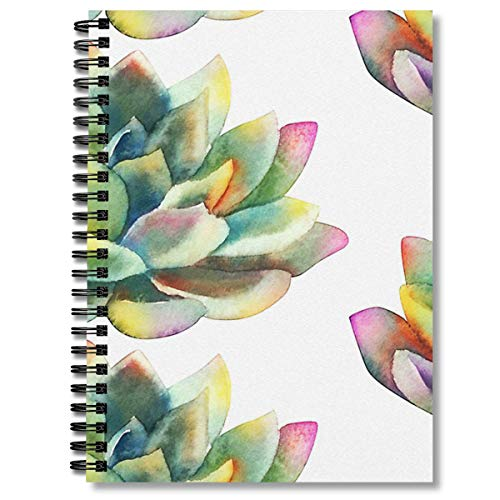 Spiral Notebook Watercolor Succulent Hand Painted Cactus Composition Notebooks Journal With Premium Thick Blank Paper